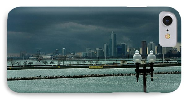 Dramatic Thunderstorm Over Navy Pier Chicago IPhone Case by Linda Matlow