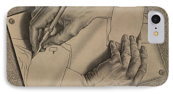 Drawing Hands IPhone Case by Maurits Cornelis Escher