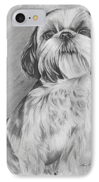 Drawing Of A Shih Tzu IPhone Case by Lena Auxier