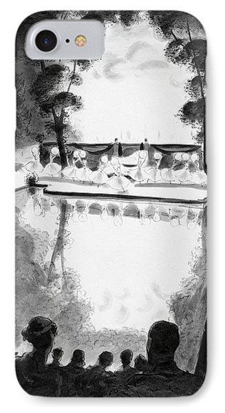 Drawing Of The Gala Blanc At The Fauchier-magnan IPhone Case by Jean Pag?s