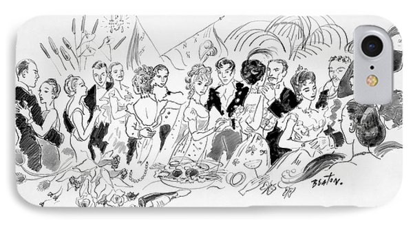 Drawing Of The London Society Dancing Night Away IPhone Case by Cecil Beaton
