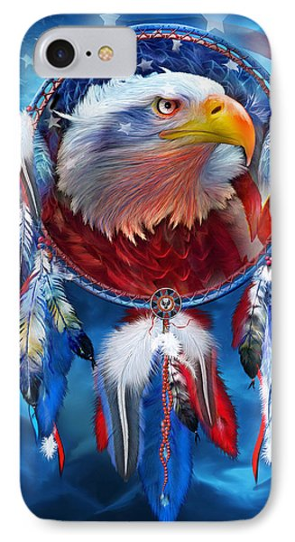 Dream Catcher - Eagle Red White Blue IPhone Case by Carol Cavalaris