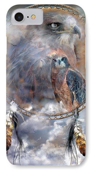 Dream Catcher - Hawk Spirit IPhone Case by Carol Cavalaris
