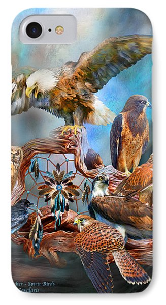 Dream Catcher - Spirit Birds IPhone Case by Carol Cavalaris