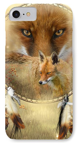 IPhone Case featuring the painting Dream Catcher- Spirit Of The Red Fox by Carol Cavalaris