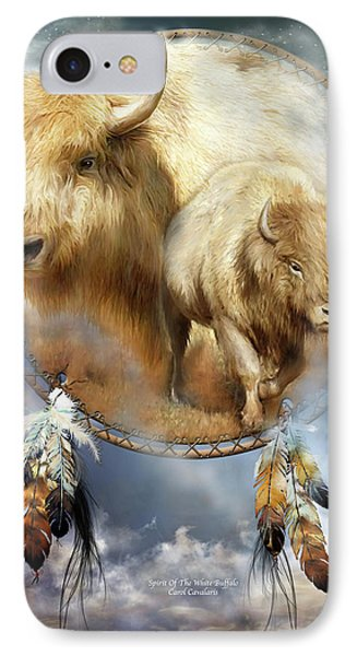 Dream Catcher - Spirit Of The White Buffalo Phone Case by Carol Cavalaris