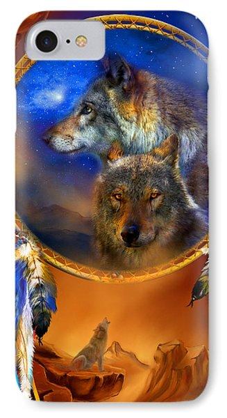 Dream Catcher - Wolf Dreams IPhone Case by Carol Cavalaris