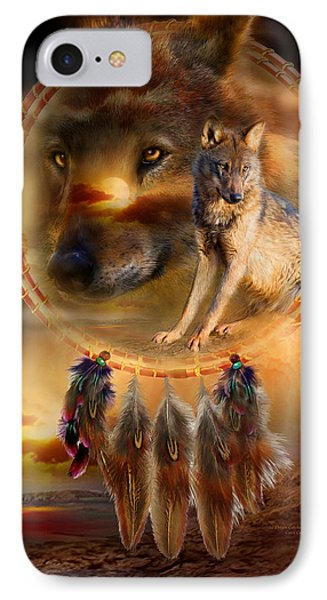 Dream Catcher - Wolfland Phone Case by Carol Cavalaris