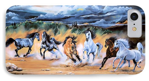 Dream Horse Series 125 - Flat Bottom River Wild Horse Herd IPhone Case by Cheryl Poland