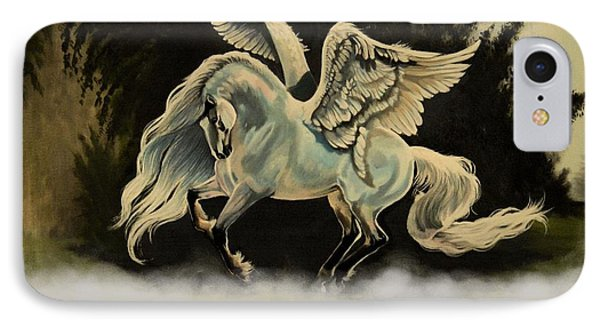 Dream Horse Series #206- A Pegasus In The Mist  IPhone Case by Cheryl Poland