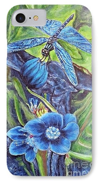IPhone Case featuring the painting Dream Of A Blue Dragonfly by Kimberlee Baxter