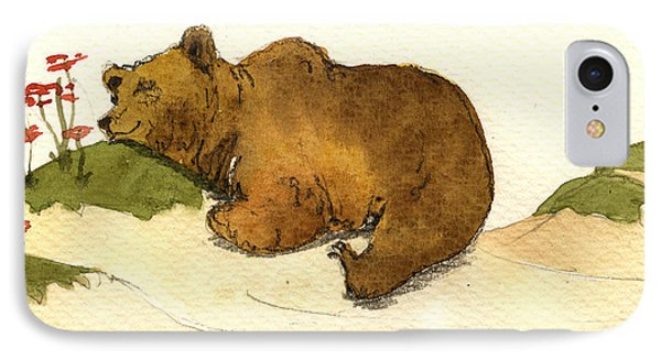 Mushroom iPhone 7 Case - Dreaming Grizzly Bear by Juan  Bosco