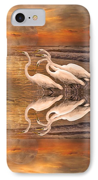 Dreaming Of Egrets By The Sea Reflection IPhone 7 Case by Betsy Knapp