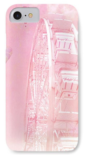 Dreamy Baby Pink Ferris Wheel Carnival Art With Hot Air Balloons IPhone Case by Kathy Fornal