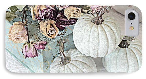 Dreamy Dried Roses Shabby Chic Cottage Autumn Fall Pastel Pumpkin Art  IPhone Case by Kathy Fornal