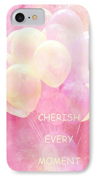 Dreamy Fantasy Whimsical Yellow Pink Balloons With Hearts - Typography Quote - Cherish Every Moment IPhone Case by Kathy Fornal