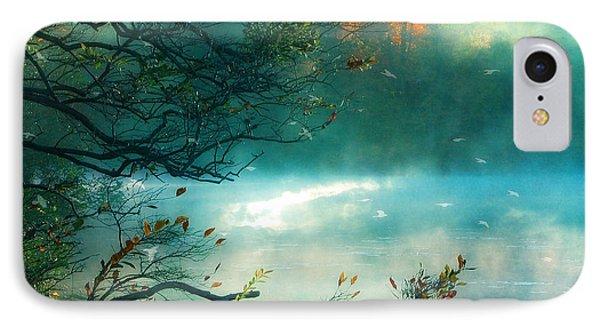 Dreamy Nature Aqua Teal Fog Pond Landscape - Aqua Turquoise Fall Autumn Nature Decor  IPhone Case