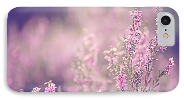 Dreamy Pink Heather Phone Case by Natalie Kinnear