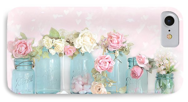 Dreamy Shabby Chic Pink White Roses  - Vintage Aqua Teal Ball Jars Romantic Floral Roses  IPhone Case by Kathy Fornal