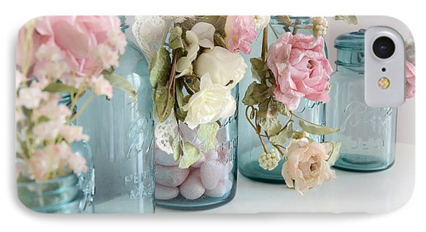 Shabby Chic Roses Blue Aqua Ball Mason Jars - Roses In Aqua Blue Mason Jars - Shabby Chic Decor IPhone Case by Kathy Fornal