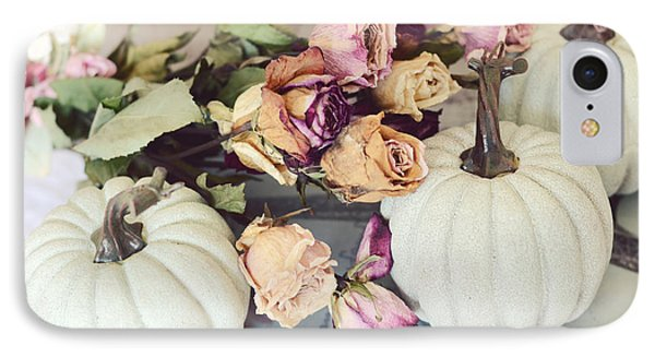 Dreamy Shabby Chic Cottage Autumn Fall Pastel Pumpkins And Dried Roses IPhone Case by Kathy Fornal