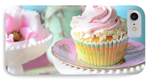 Dreamy Shabby Chic Cupcake Vintage Romantic Food And Floral Photography - Pink Teal Aqua Blue  Phone Case by Kathy Fornal