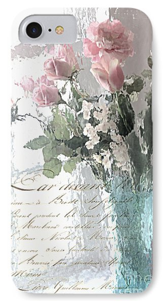 Dreamy Shabby Chic Pastel Flowers - Romantic Impressionistic Paris Roses And Tulips IPhone Case by Kathy Fornal