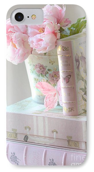 Dreamy Shabby Chic Pink Peonies And Books - Romantic Cottage Peonies Floral Art With Pink Books IPhone Case
