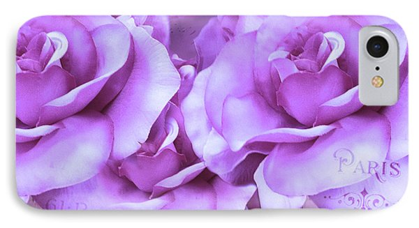 Dreamy Shabby Chic Purple Lavender Paris Roses - Dreamy Lavender Roses Cottage Floral Art IPhone Case by Kathy Fornal