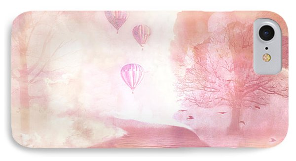 Dreamy Surreal Fantasy Fairytale Pastel Hot Air Balloons Dreamland Nature Fantasy Art IPhone Case by Kathy Fornal