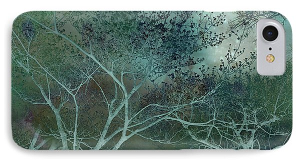 Dreamy Surreal Fantasy Teal Aqua Trees Nature  IPhone Case by Kathy Fornal