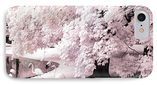 Dreamy Surreal Pink White Infrared Pink Flamingos In Pond - Pink Flamingos Dreamy Nature Landscape IPhone Case by Kathy Fornal