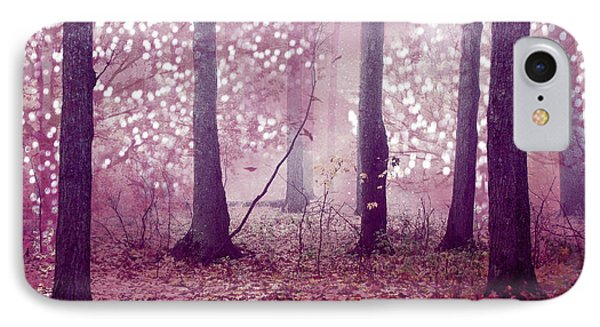 Dreamy Surreal Sparkling Twinkling Lights Pink Mauve Woodlands Tree Nature IPhone Case