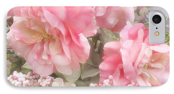 Dreamy Vintage Cottage Shabby Chic Pink Roses - Romantic Roses IPhone Case by Kathy Fornal