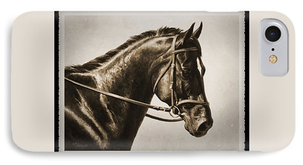 Dressage Horse Old Photo Fx IPhone Case by Crista Forest