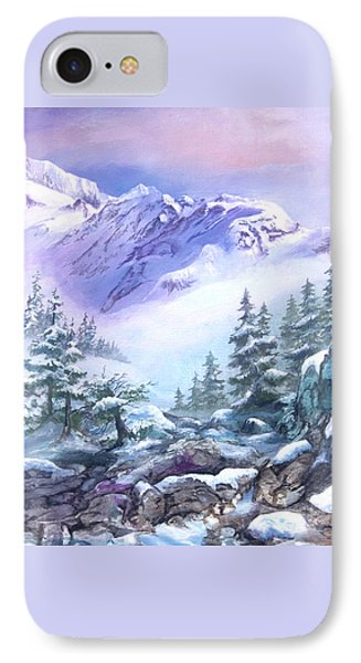 IPhone Case featuring the painting Dressed In White Mount Shuksan by Sherry Shipley