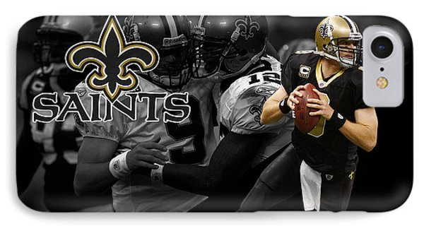 Drew Brees Saints IPhone Case by Joe Hamilton