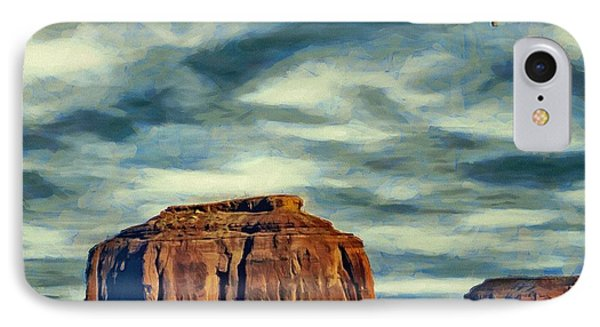 IPhone Case featuring the painting Drifting Over Monument Valley by Jeff Kolker