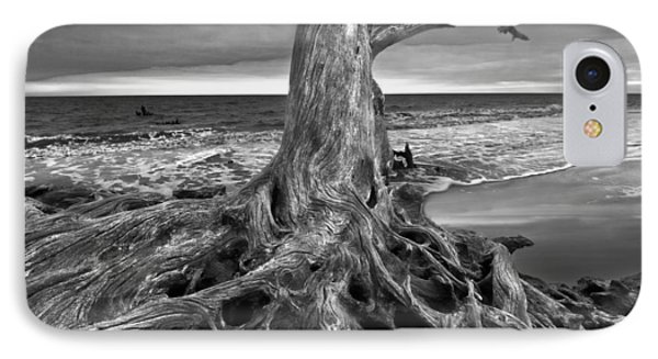 Driftwood On Jekyll Island Black And White Phone Case by Debra and Dave Vanderlaan