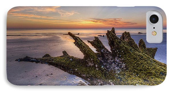 Driftwood On The Beach Phone Case by Debra and Dave Vanderlaan