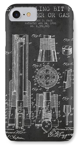 Drilling Bit For Oil Water Gas Patent From 1920 - Dark IPhone Case by Aged Pixel