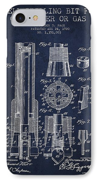 Drilling Bit For Oil Water Gas Patent From 1920 - Navy Blue IPhone Case by Aged Pixel