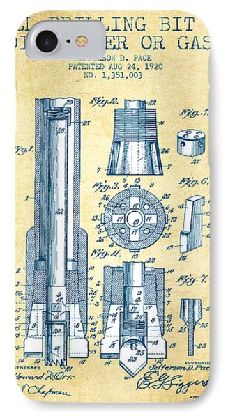 Drilling Bit For Oil Water Gas Patent From 1920 - Vintage Paper IPhone Case