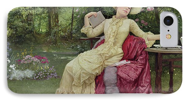 Drinking Coffee And Reading In The Garden Phone Case by Edward Killingworth Johnson
