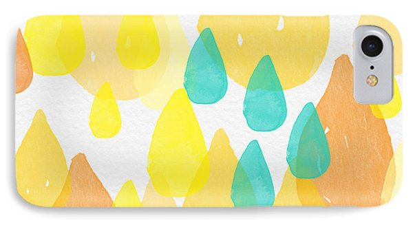 Drops Of Sunshine- Abstract Painting IPhone Case by Linda Woods