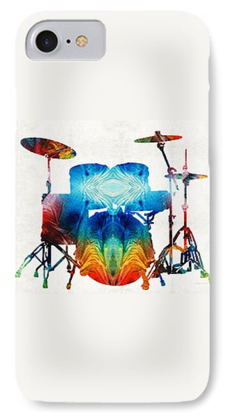 Drum Set Art - Color Fusion Drums - By Sharon Cummings IPhone 7 Case