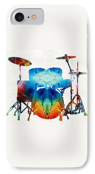Drum Set Art - Color Fusion Drums - By Sharon Cummings IPhone Case by Sharon Cummings