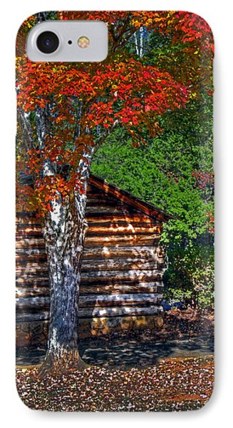 Dry Brush Painting Effect Red Leaves Over A Log Cabin IPhone Case by Andy Lawless
