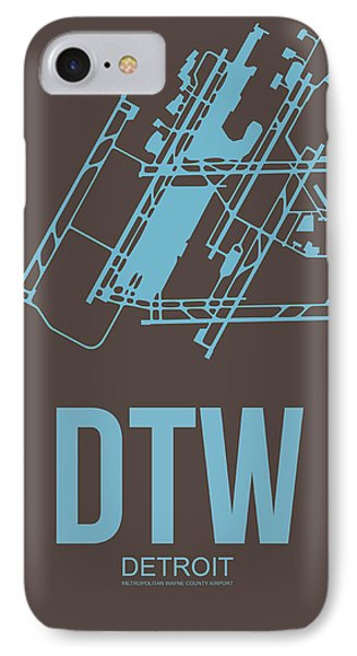 Dtw Detroit Airport Poster 1 IPhone Case by Naxart Studio