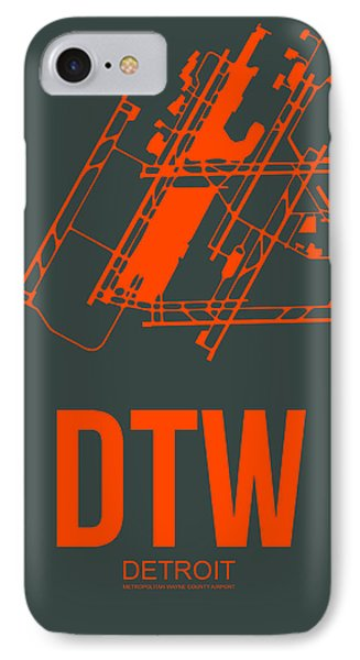 Dtw Detroit Airport Poster 3 IPhone Case by Naxart Studio